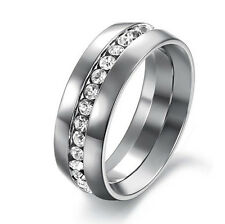 New Titanium Ring Men Band Wedding Stainless Steel Engagement CZ Inlay Size 5-11
