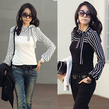 New Korea Womens Polo Puff Neck Long Sleeve Casual Stripe Tops Blouses T-Shirt
