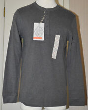 Men's St. John's Bay Charcoal Gray Long Sleeve Legacy Henley Top Size S, M, L