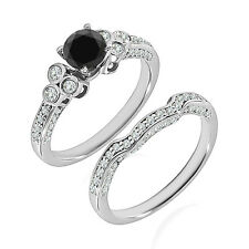 1.5 Carat Black AAA Diamond Engagement Bridal Solitaire Ring 14K White Gold