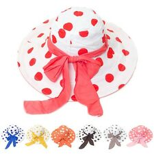 A063 Polka Dot Women Wide Brim Collapsible Sun Protection Floppy Sun Beach Hat