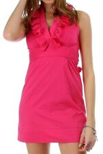Minuet Magenta Sleeveless Ruffle Collared V-Neck Stretch DRESS S M L