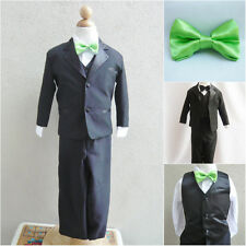 Black boy formal suit with apple green bow tie wedding formal party graduation
