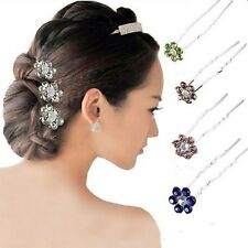 10Pcs Wedding Bridal Rhinestone Flower Crystal Hair Pins Clips Bridesmaid