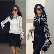 Korea Style Womens Long Sleeve Casual Stripe Tops Polo Puff Neck Blouses T-Shirt