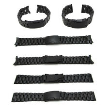 New Watch Strap Bracelet BLACK PVD STAINLESS STEEL Divers Band Deployment Clasp