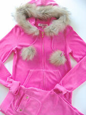 Juicy Couture Pink Velour Tracksuit Hoodie Faux Fur Limited Edition Pocket Pants