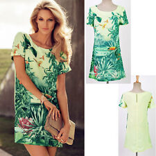 Fashion Women's Landscape Painting Bird Floral Printing Chiffon Casual Dress