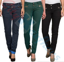 Timezone Womens Trousers Asanie Zip Cotton Jeans Fabric Trousers 16-0263 New