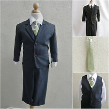 Black baby teen toddler boy formal suit with sage green long tie wedding party