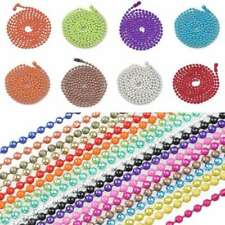 "1.5mm 2.4mm Metal Bead Ball Chain Long Necklace 70cm/28"" w/ Connector 18 Colours"