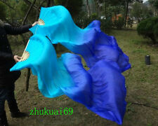 1 pair(Left+Right) 100%Real silk belly dance fan veil Blue/Dark Blue (1.5m 1.8m)