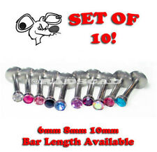 10 JOB LOT MIX GEM LABRET 6mm 8mm 10mm BAR MONROE LIP RING STUD PIERCING 16G L36