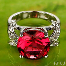 Noble Engagement Round Cut Ruby Gemstones Silver Ring Size 6 7 8 9 Jewelry Party