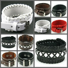UH053 Punk Single Buckle Surfer Tribal Woven Leather Wristband Cuff Bracelet