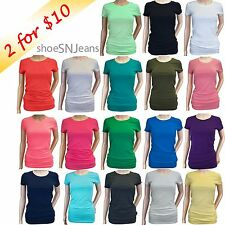 New Women Crew Basic Top Cotton Tee Short Sleeve Solid Color Round Neck T-Shirt