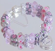 LADIES WOMENS CHARM BRACELET PINK  HEARTS MUM MUMMY MOM PRESENT GIFT BEAD