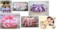 NEW Baby Bloomers Diaper Cover Satin Photo Op Pink White fits Newborn - 18 Month