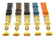 18-19-20-22-24MM LEATHER WATCH BAND STRAP DEPLOYMENT CLASP FOR BREITLING 3B GOLD