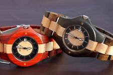 Mixed Color Tan Wood Wristwatch Wooden Watch Date Bracelet Bangle Collection 074