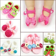 Baby Newborn Infant Girls Crochet Knit Socks Crib Casual Shoes Prewalkers 0-12M