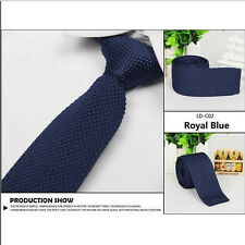 Men's Fashion Solid Tie Knit Knitted Tie Pure Color Narrow Slim Woven Necktie