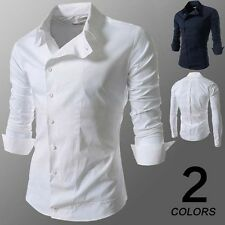 New Mens Slim Casual Long Sleeved Fit Tops Dress Formal Oblique Buckle Shirts