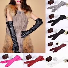 Fashion Elegant Women's Soft PU Leather Arm Long Gloves Evening Party Gloves