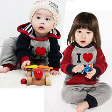 I Love MOM DAD Baby Girls Boy Romper Coverall Soft Hoody Clothes Autumn 1-3Y