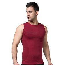 Mens Slimming Vest Body Control Shaper Tummy Belly Girdle T Shirt Tops Shapewear