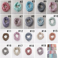 Women Infinity Chevron Color Block Chunk Circle Double Loop Scarf Wrap 19 Colors