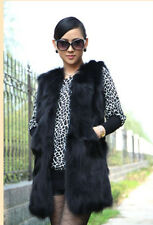 New 2014 Winter Real Fox Fur Vest Gilet Long Fox Fur Jacket Fashion Women
