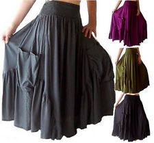 @Q455  SKIRT DRESS RUFFLED MAXI POCKETS CLASSY ELASTIC WAIST RAYON MADE TO ORDER