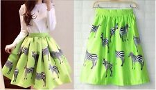 2014 Women Sexy Girl Zebra Pattern High Waist Tutu Skate Pleated A-line Dress-S