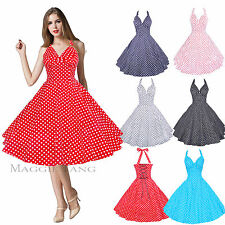Maggie Tang 50s 60s Swing Polka dot Halter Dress Pinup Vintage Rockabilly Retro