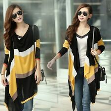 2014 Autumn Layered Hit-color Splicing Irregular Striped Cardigan Sweater Pop-S