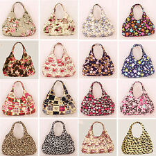 Lady Small Cute Printed Canvas Bowknot Shoulder Totes Lunch Bag Shoulder Handbag