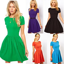 Fashion Women's Summer Pleated Cotton Slim Short Sleeve Skater Party Dress S M L
