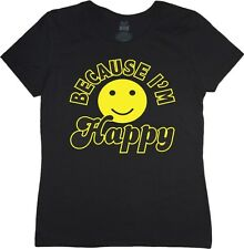 Ladies size tee shirt Because I'm happy song smiley face womans black tshirt