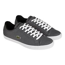 Lacoste Mens Grad Vulc FB Gray White Canvas Lace Up Sneakers Shoes
