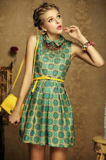 New Fashion Retro Girl Peter Pan Collar Geometric Print Mini Dress W/Belt S M L