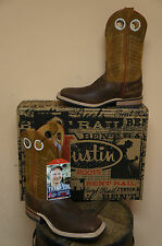 MENS JUSTIN WHIKEY TAN COWHIDE BR366 COWBOY WESTERN BOOT SQUARE TOE