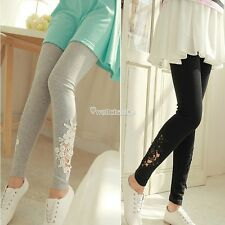 Women Lace Skinny Elastic Leggings Tights Pencil Pants Trousers Cotton Jeggings
