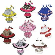 Strappy Sleeveless Swing Top Ruffles Bloomer Pants Set Baby Girl Clothing NB-2Y
