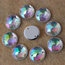 100PCS 12mm Acrylic Crystal Rhinestone Round Flat back Sew On 2 Hole