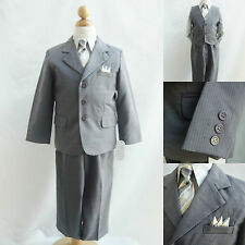 Toddler Teen Dark Grey Pinstripe Boy formal suit set bridal graduation party