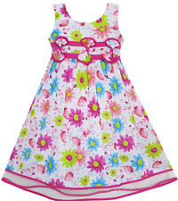 Girls dress Sun Flower Layers Trimmed Party Birthday Kids Clothes 4-12 NWT