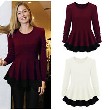 Womens Slim Crew Neck Long Sleeve Stitching Peplum Shirt Mini Dress Blouse Tops