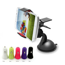 Rotating Clip Cradle Mount+Dual USB DC Car Charger For Android Cell Mobile Phone