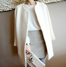 New Women's Casual Round Collar One Button Wool Blend Long Jacket Coats Outwears
